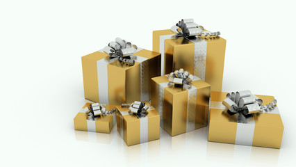 festive presents with golden paper and silvered ribbon bow