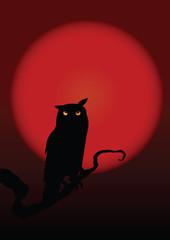 Halloween illustration owl on moon background. Vector art