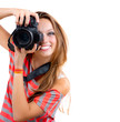 Teenage Girl with Professional Photo Camera. Isolated on white
