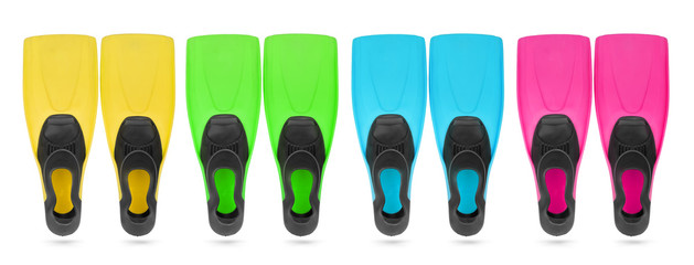 Four color flippers for diving on white background