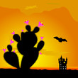 cactus and castle with bat illustration