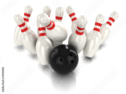 3d Bowling ball hits pins viewed from above