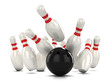 3d Bowling pins hit by ball