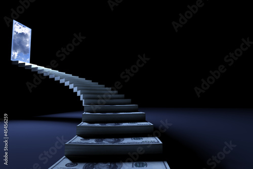 Success stair with money steps