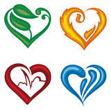 set of four different icons of hearts