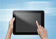 hand touch screen on tablet pc with icons