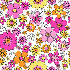 Flowers Groovy Doodles Seamless Repeat Pattern