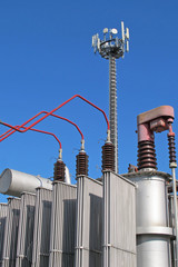 electricity transformer and an antenna for the transmission of s