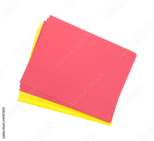 Red and yellow student folders