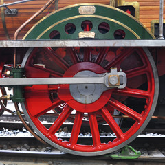 Wheel of an old train in the Museum of Transport in Lucerne, Swi