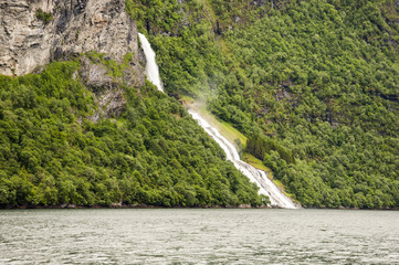 Waterfall in the Geiranger fjord