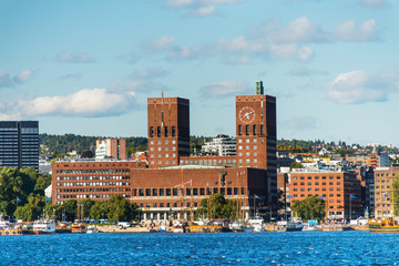 View of Oslo, Norway Radhuset from the sea
