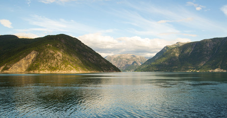 Fjord and mountains