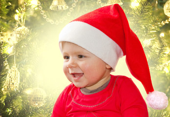 baby in Christmas bonnet
