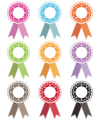 rosettes with ribbons