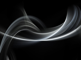 Abstract white fractal waves on black background