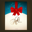 Greeting card with red bow and copy space. Vector illustration