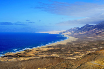 Aerial view of Cofete Beach in Fuerteventura, Canary Islands, Sp