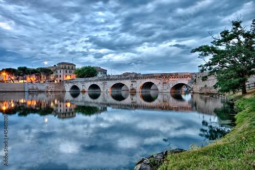 Leinwanddruck Bild Rimini Ponte di Tiberio