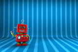 Little Robot waving in front of striped background