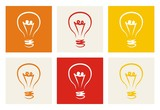 Light bulb vector colorful icon set sign of creative invention poster