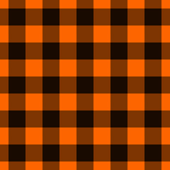 Orange and Black Plaid Fabric Background