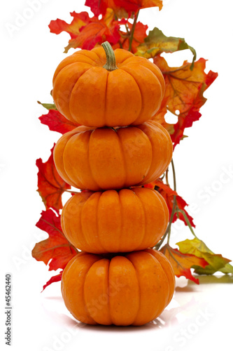 Stack of pumpkins with fall leaves