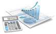 Abstract financial document, 3d graph and chart of frosted glass