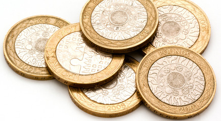 2 pound coins close-up