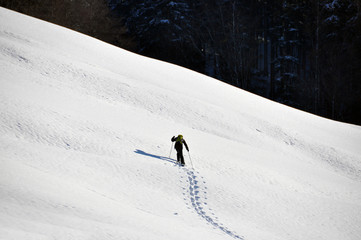 Man in snowshoe climbing a slope