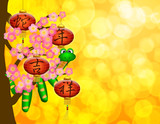 Chinese New Year Snake with Lanterns on Tree