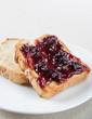 Toast with blueberry jam