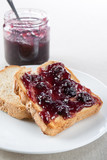 Toast with blueberry jam