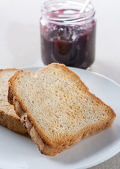 Plate of toast with jam