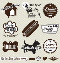 Vector Set: Retro Dog and Pet Shop Labels and Badges