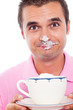 Funny man and coffee with whipped cream