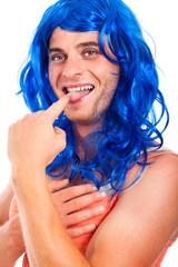 Funny transvestite in blue wig