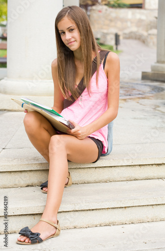 Beautiful teen student girl.