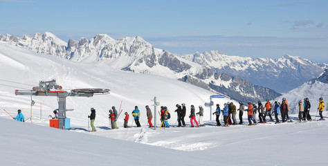Queue at the ski lift