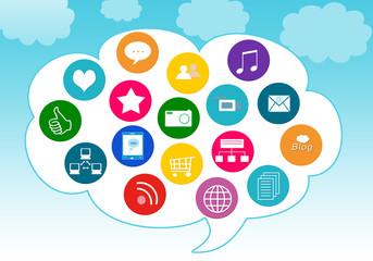 Iconos de Social Media en la nube