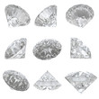 9 diamonds set on white background - clipping path