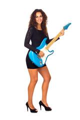 Beautiful Business Woman Playing Electric Guitar