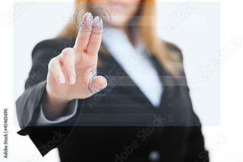 Woman using a touchscreen