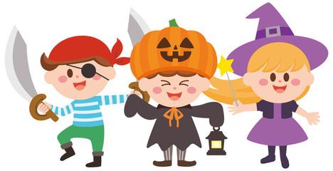 ハロウィン 仮装 海賊 パンプキン 魔女 子供達 イラスト
