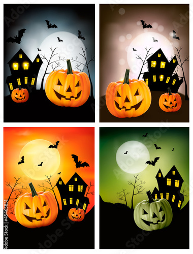 Four Halloween banners. Vector.