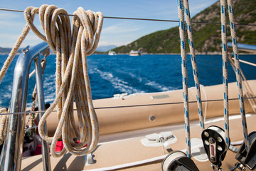 Close-up of a mooring rope on a modern yacht.