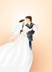 Wedding couple on light background