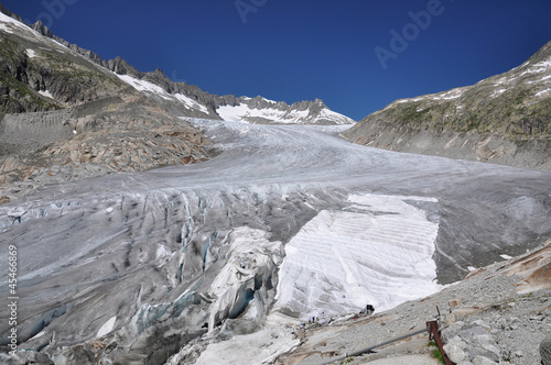 Melting Furka Pass Glacier in Switzerland..