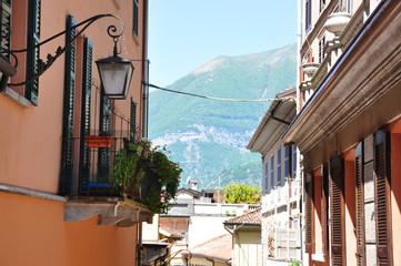 Narrow street of Bellagio town at the famous Italian lake Como