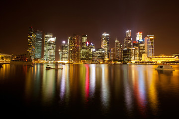 A view of Singapore business district .
